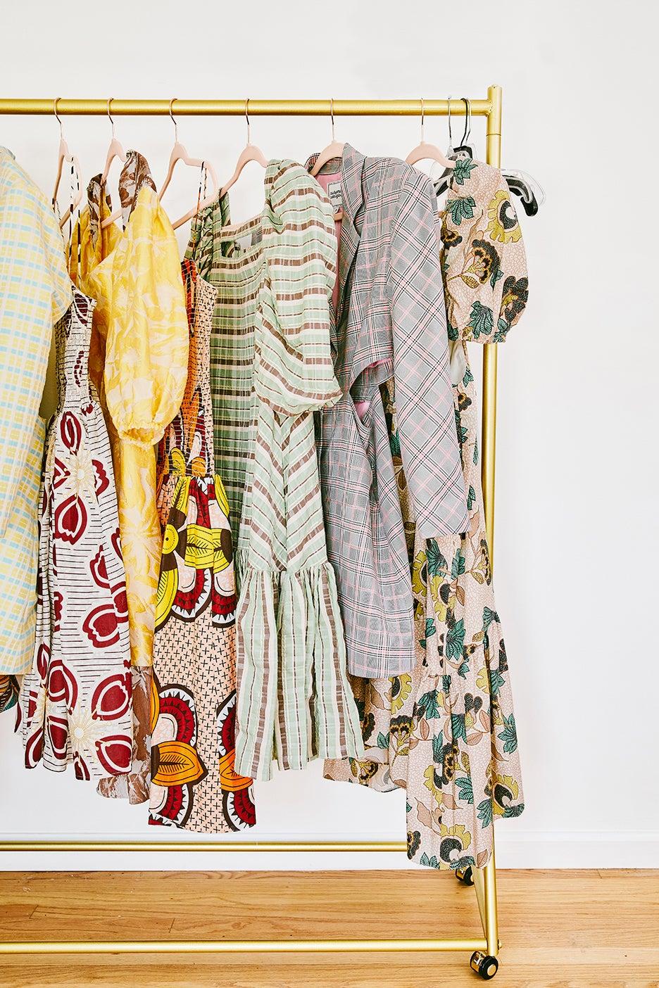 dresses on gold rack