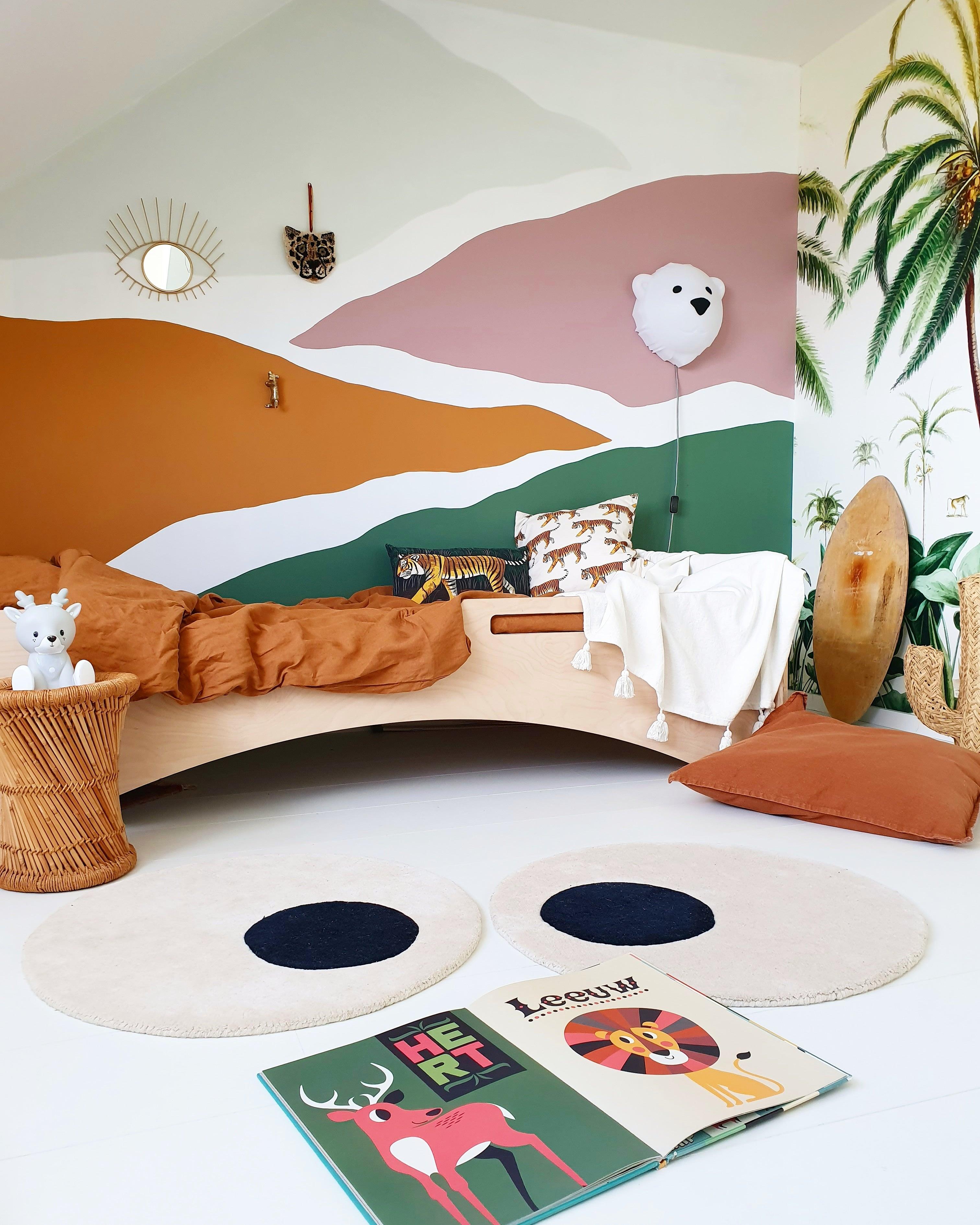 Terracotta rooms - kids bedroom with multi-colorerd paint blocks