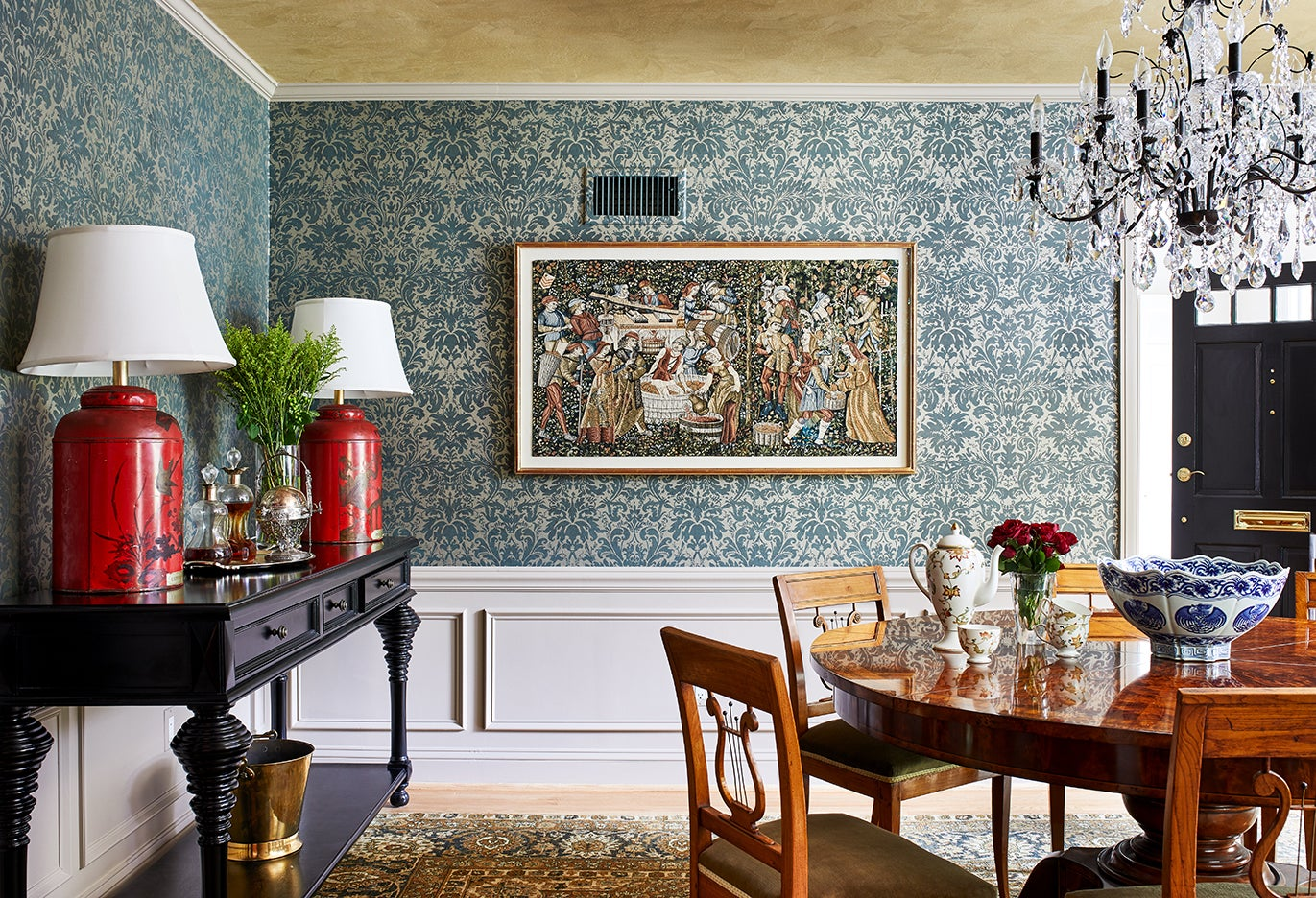traditional wallpapered dining room