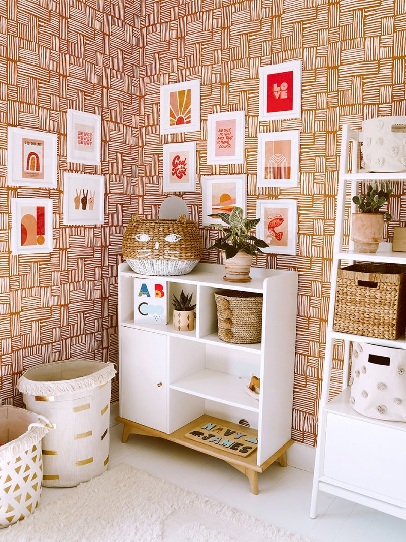 Terracotta rooms - cabinet and printed wallpaper with gallery wall