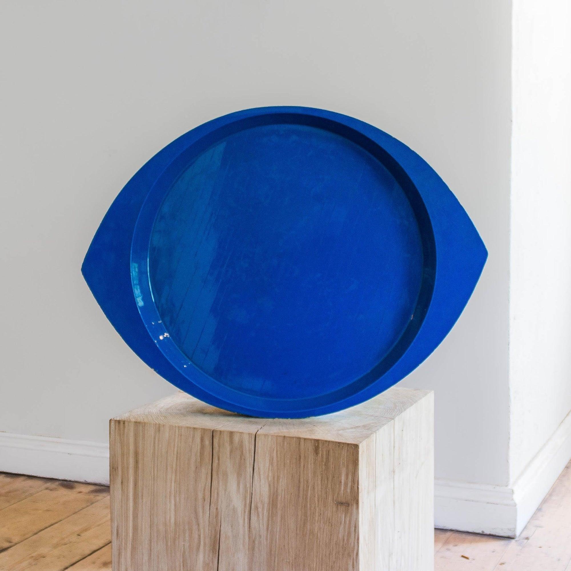 a blue tray