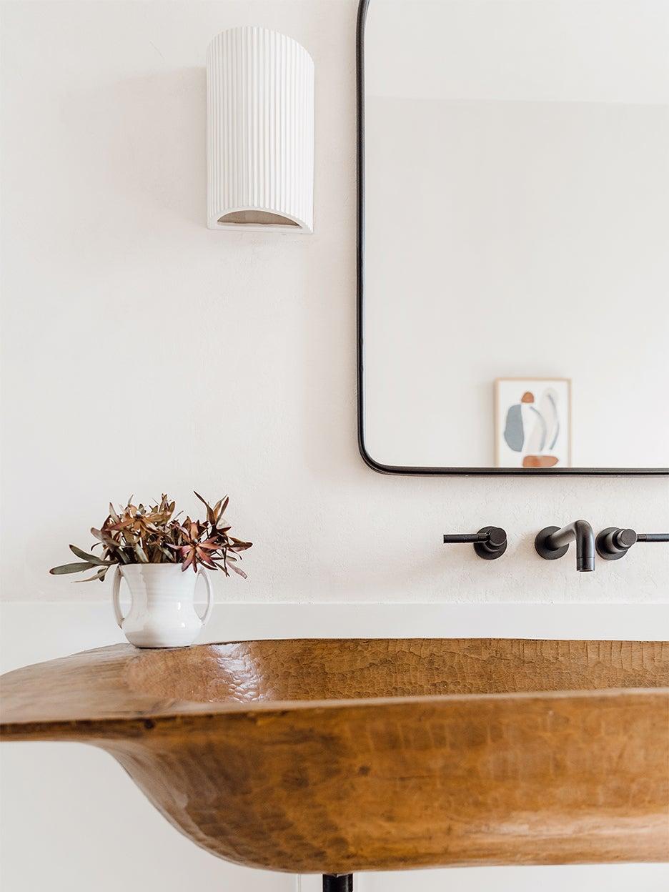 rustic wood sink