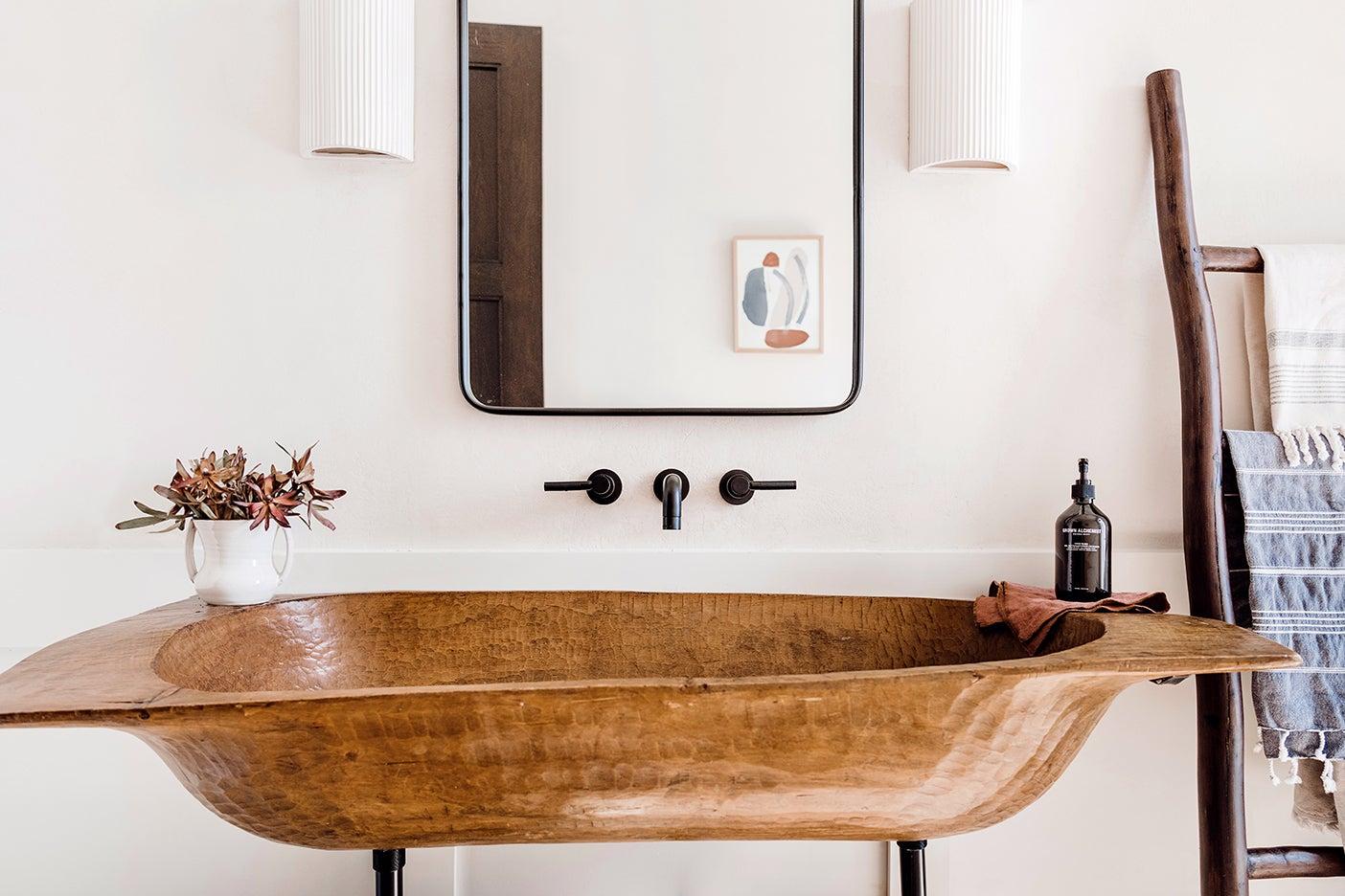 long wooden bowl sink