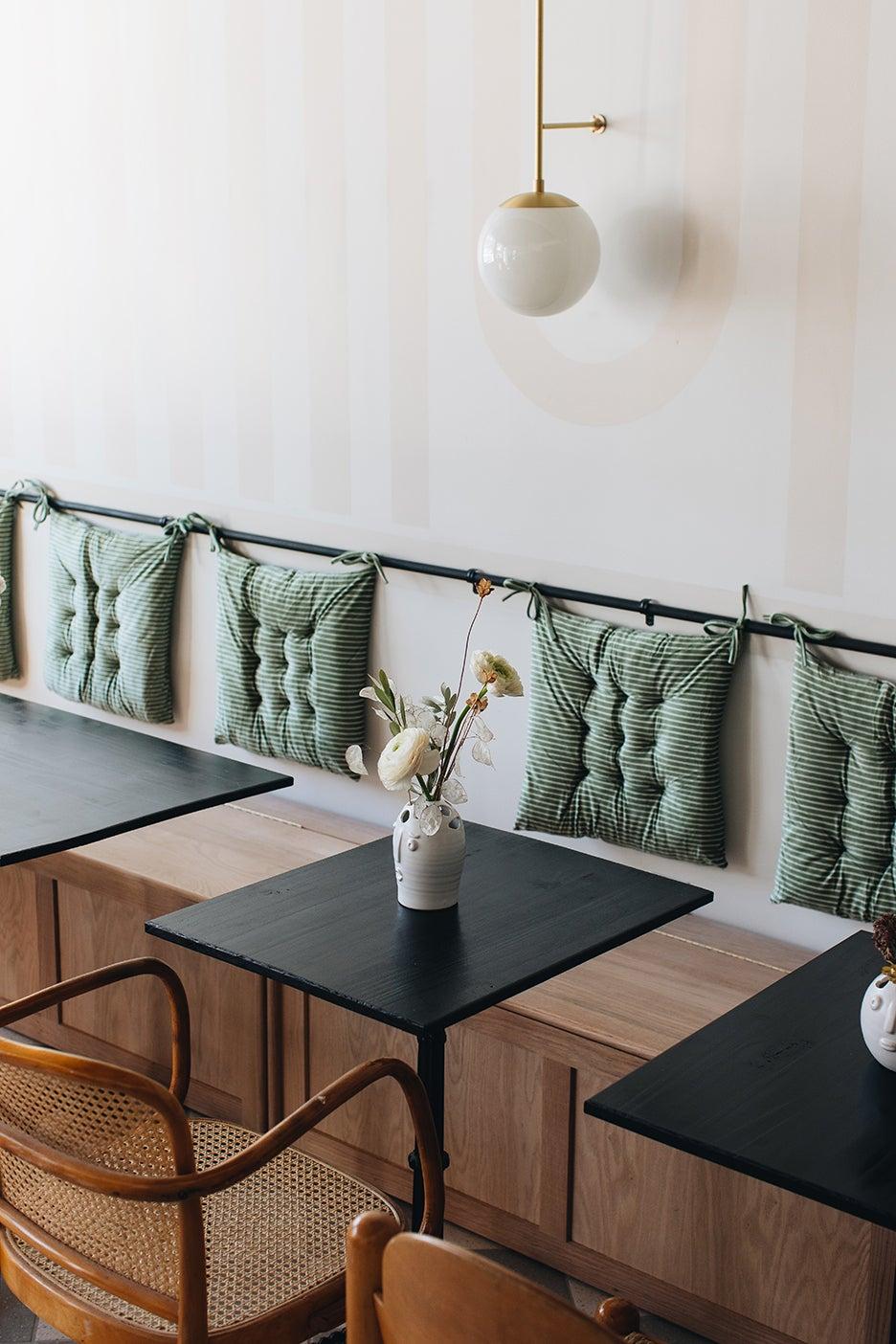 seat cushions in a restaurant