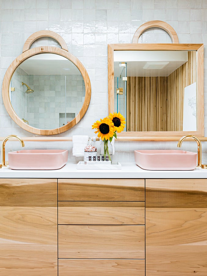 Chevron Tiles and Mismatched Mirrors Help Energy Flow in This Feng Shui Bathroom