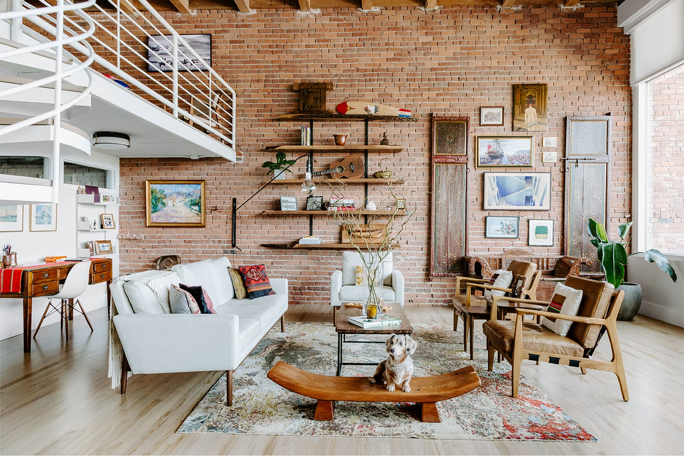 brick living room wall