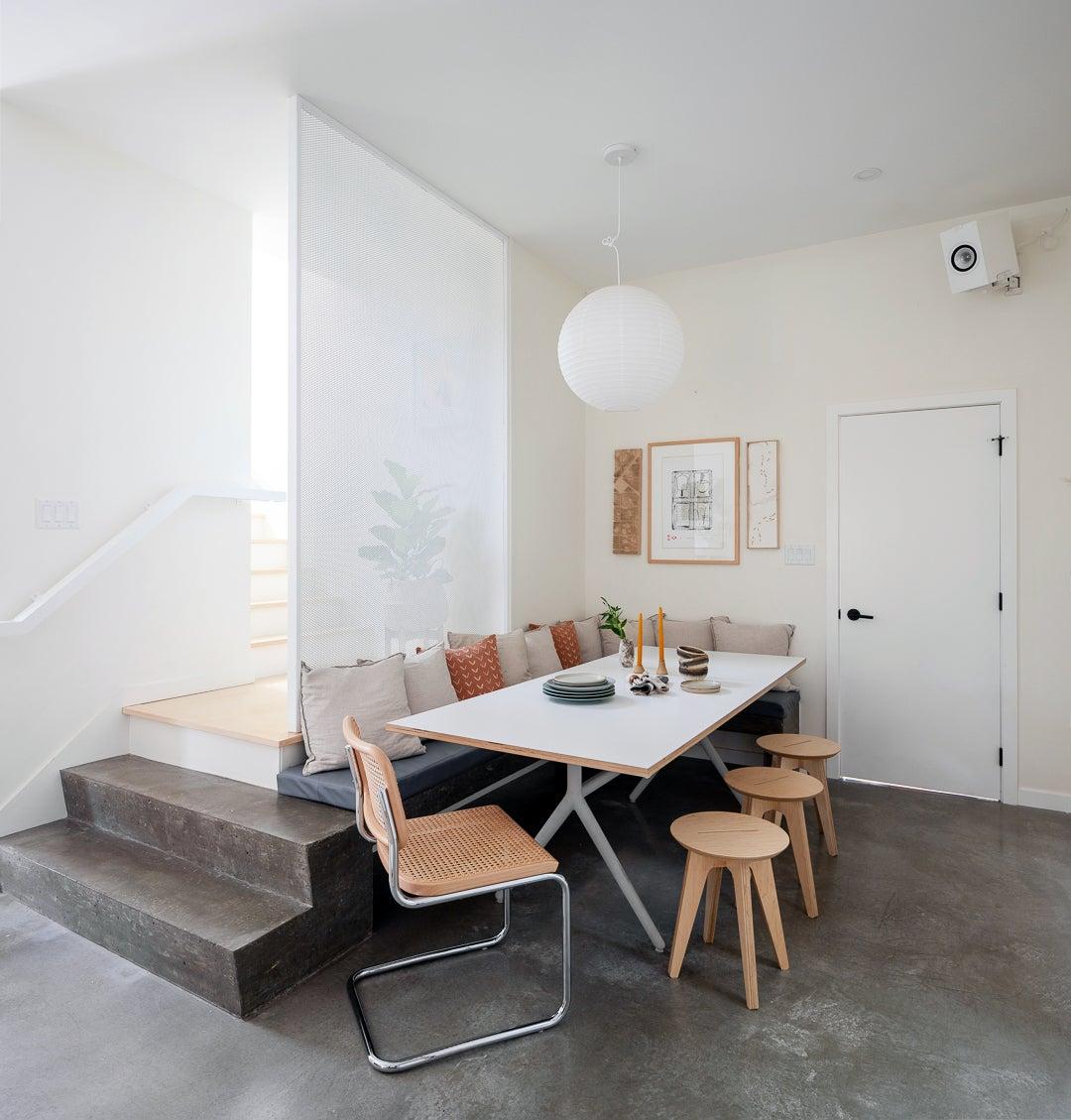 concrete dining nook