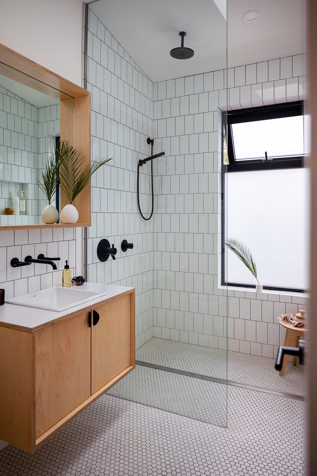 modern subway tile bathroom