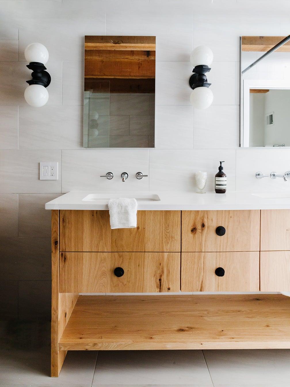 oak wood vanity