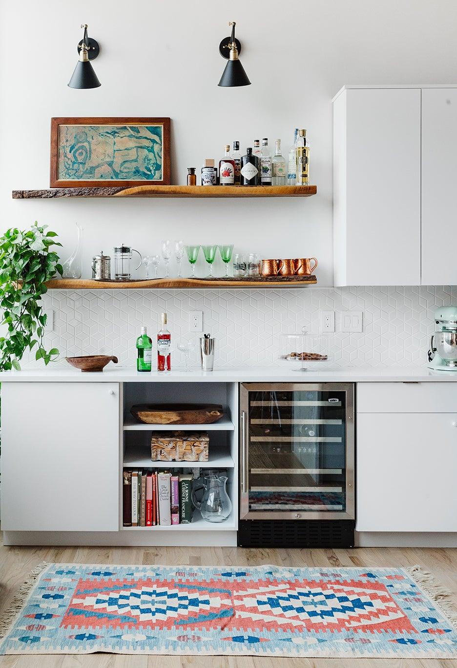 wine fridge and book storage