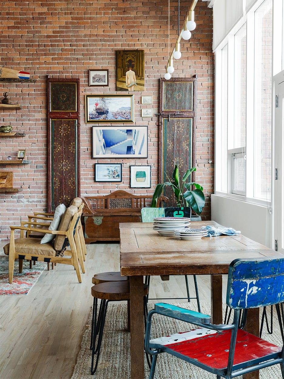 rustic dining area open to living room