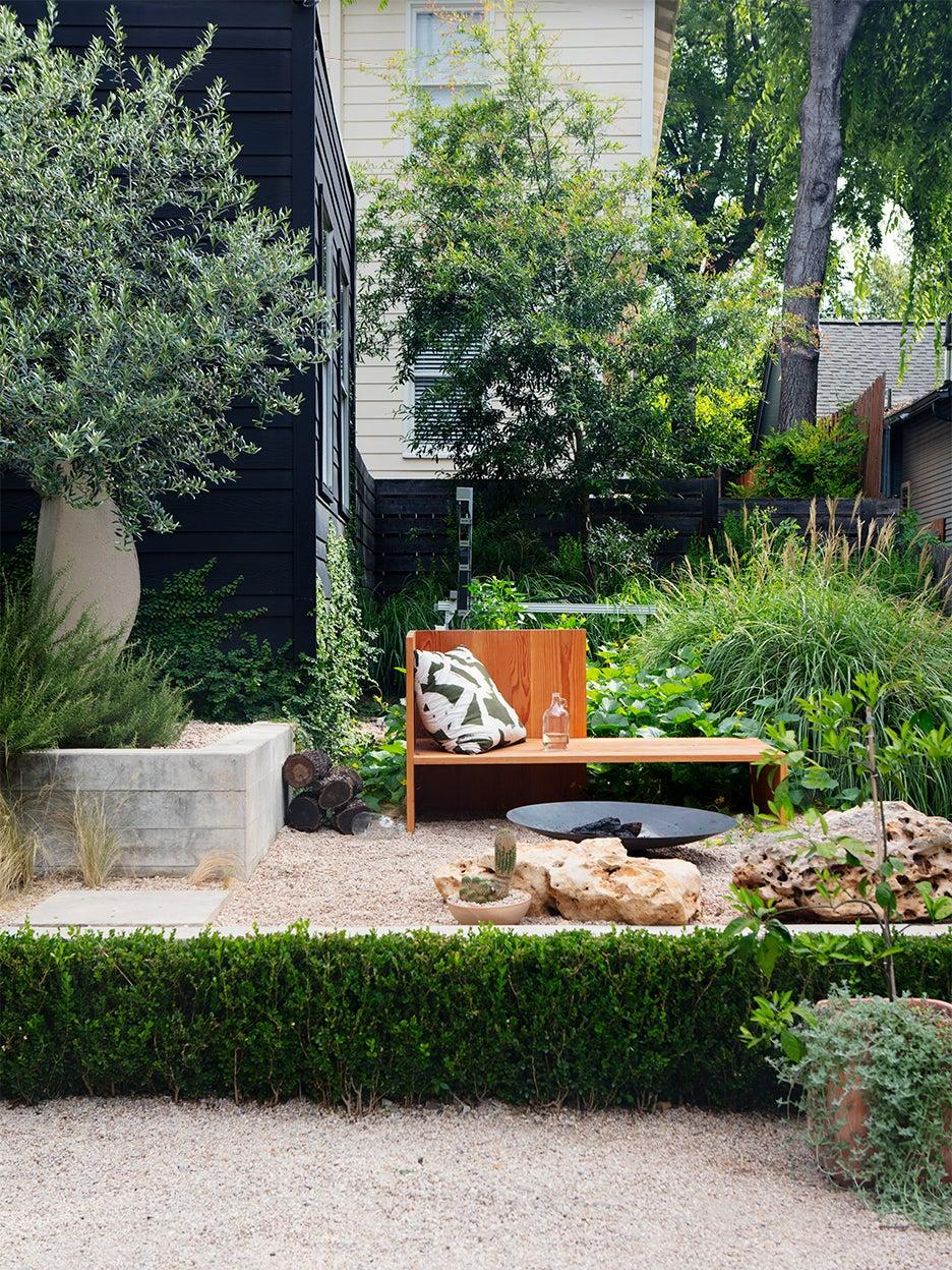 zen backyard with gravel