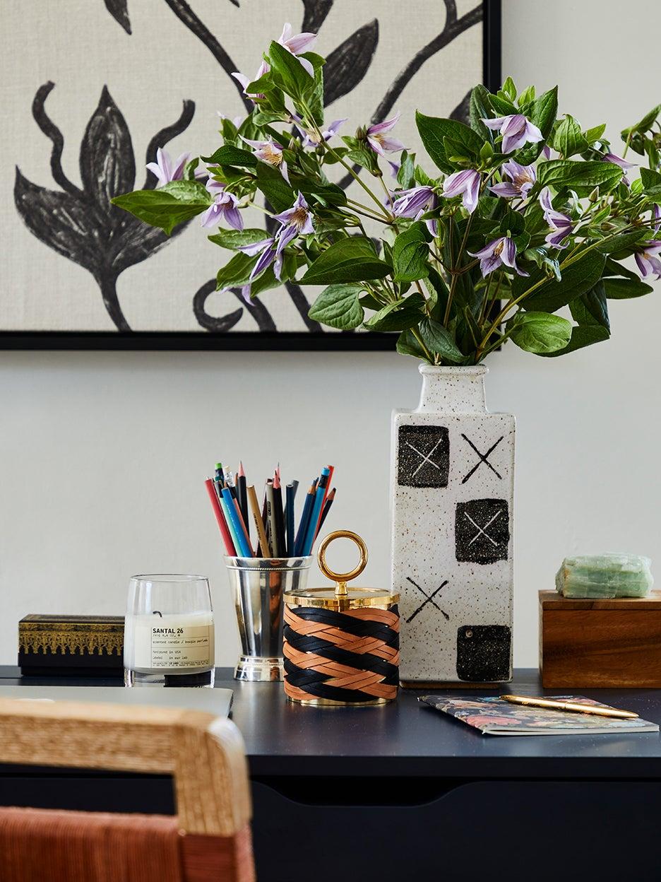 desk vignette with flowers