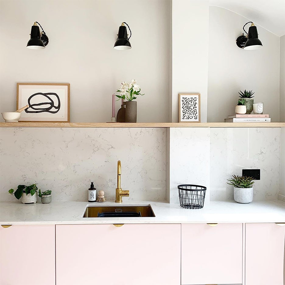 kitchen with pink cabinets