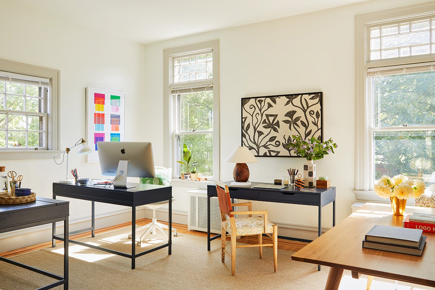 bright, sunny office with desks