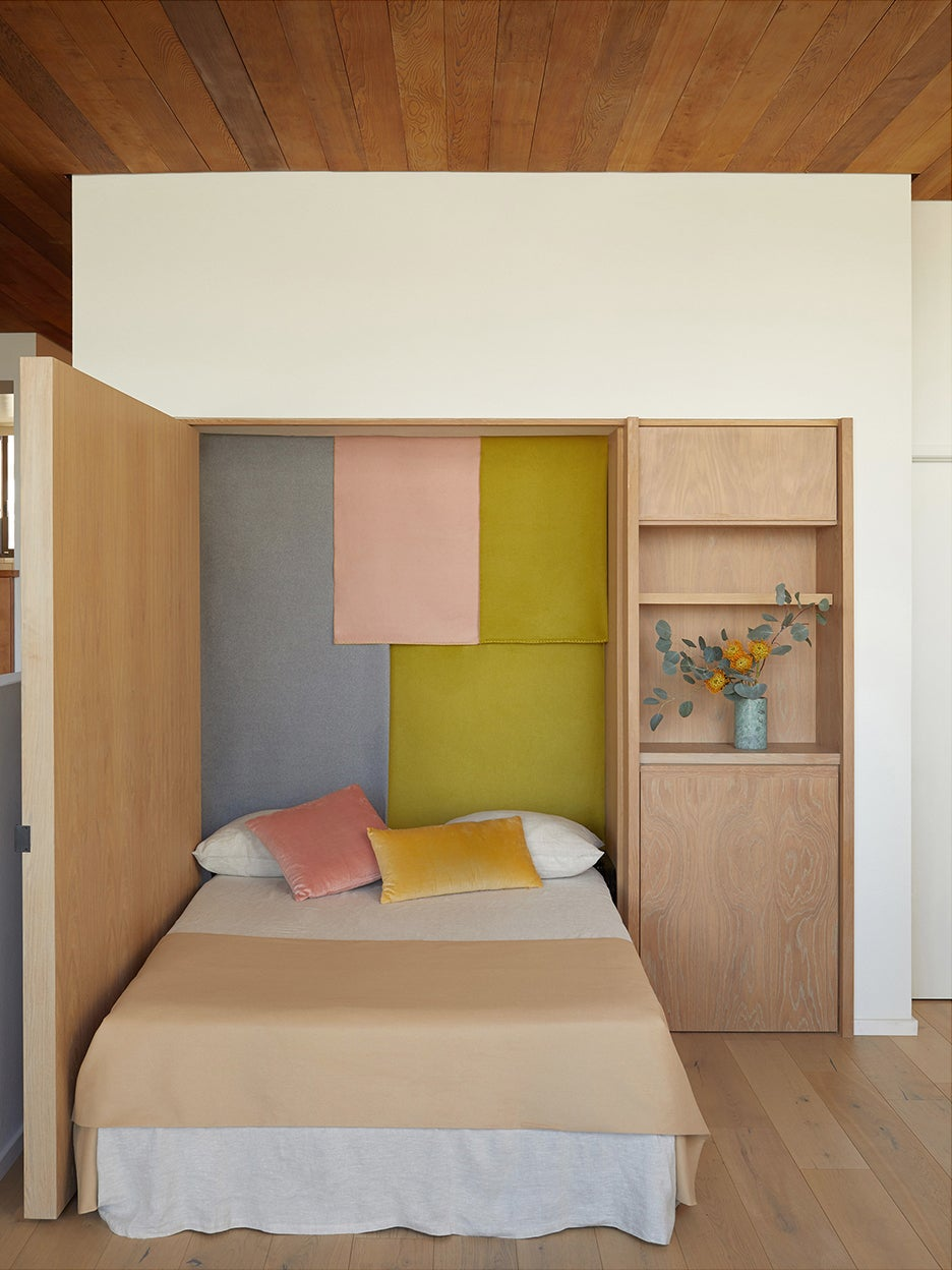 murphy bed with wood wall