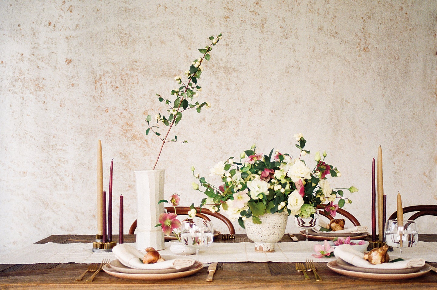 Dining room table with taper candles