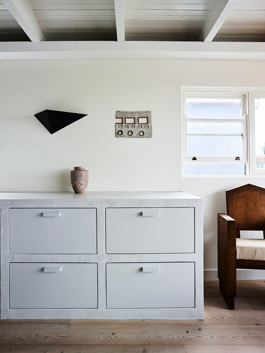 gray cabinets in beachy room