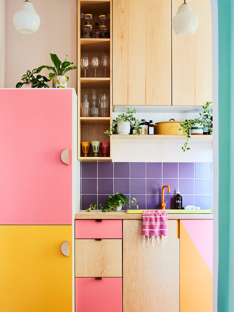 pink and yellow cabinets