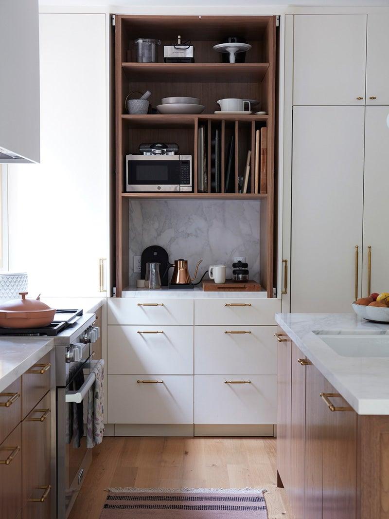 open appliance cabinet