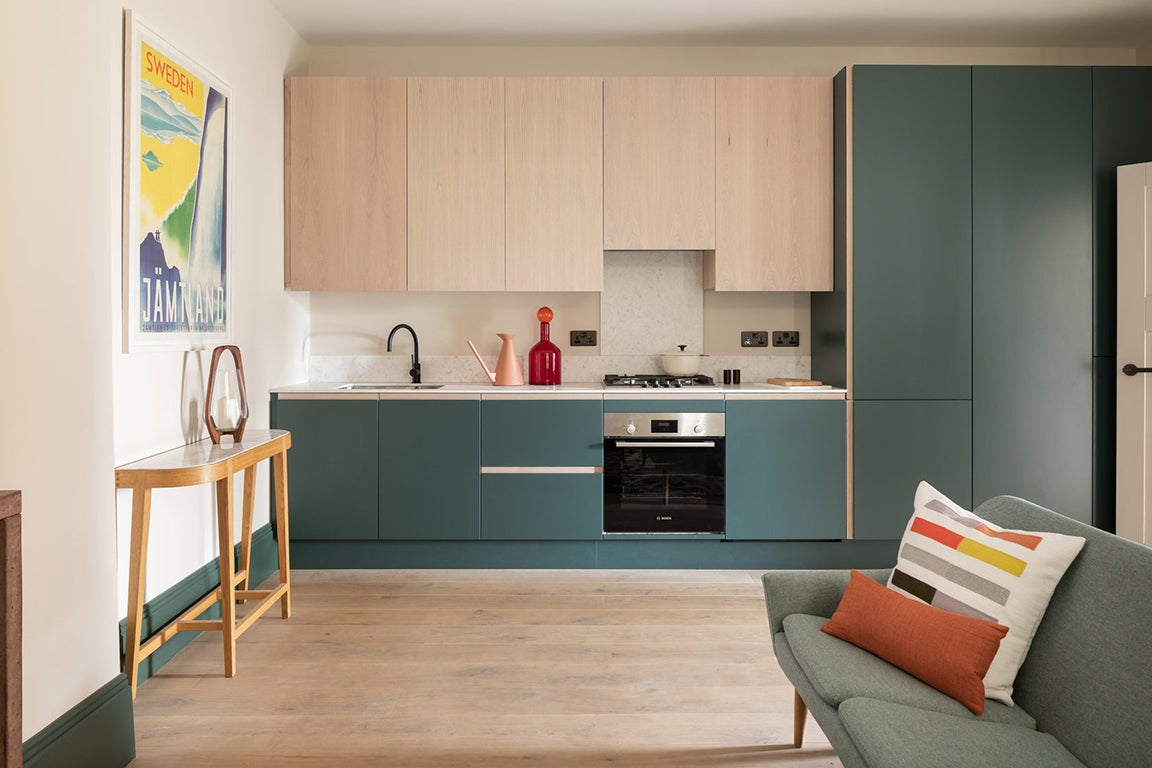 wood and green cabinets