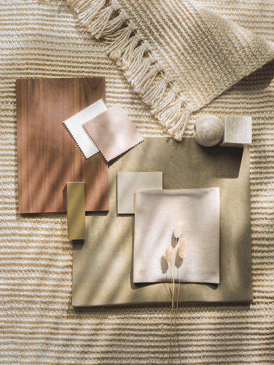 Wood and fabric swatches in neutral color