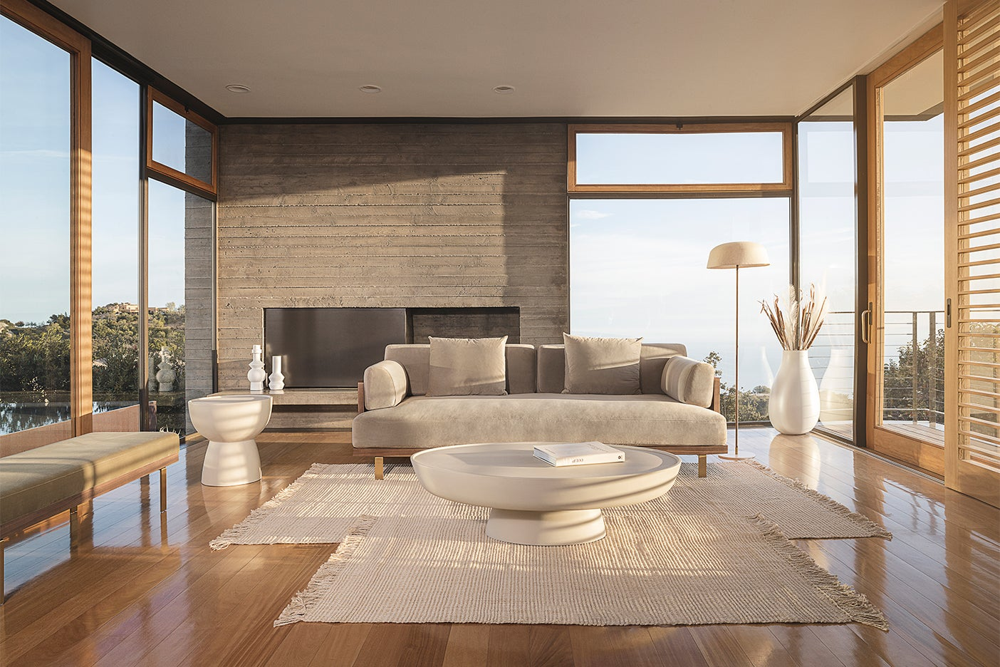Living room filled with neutral furniture