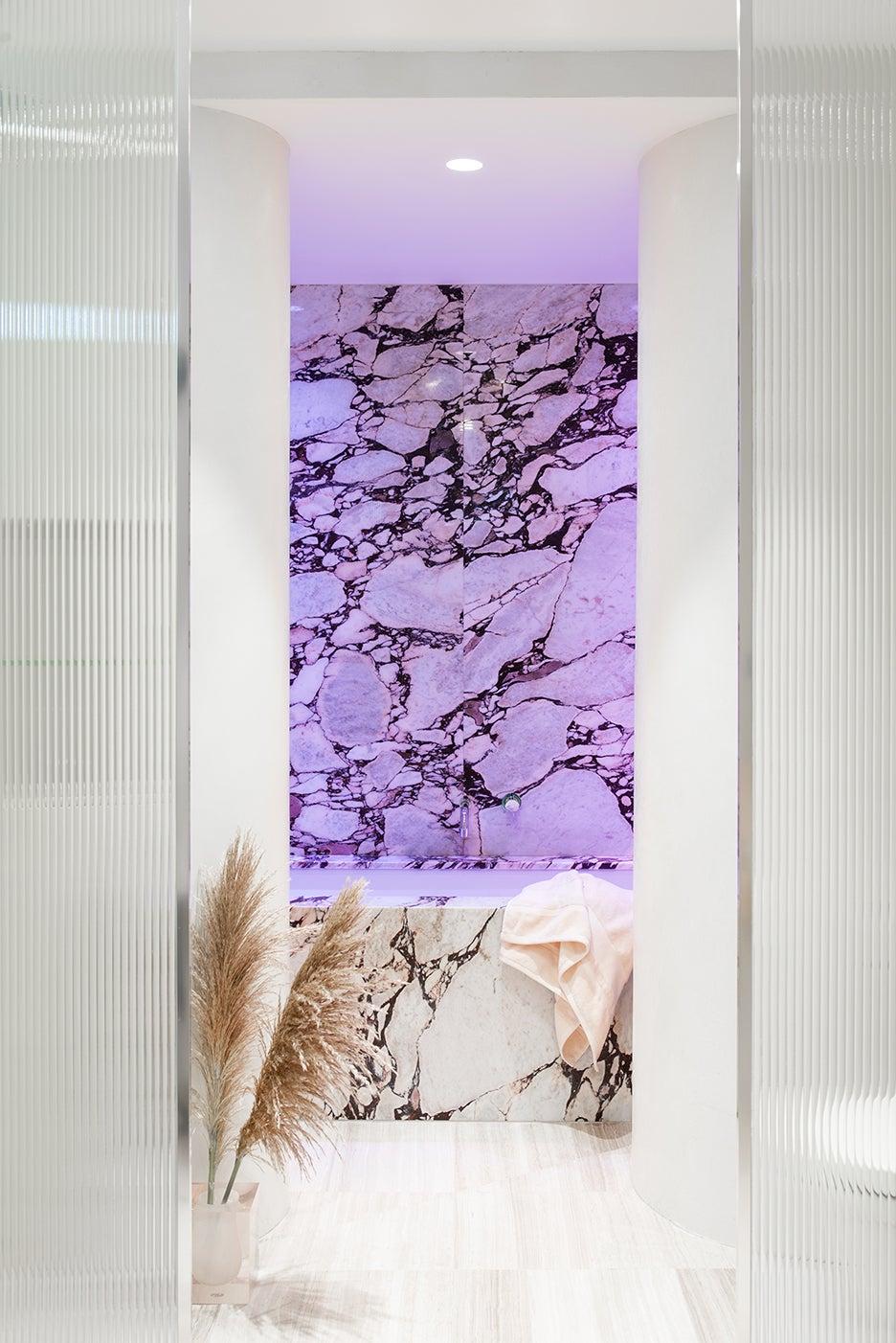 purple marble tub
