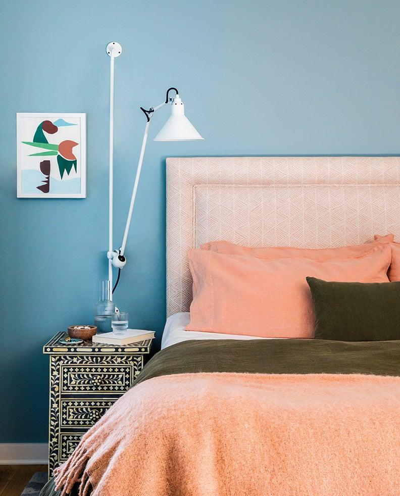 bedroom with pink headboard