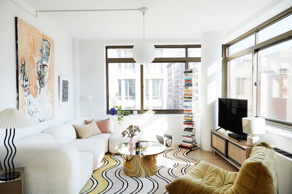 bright living room with white sofa