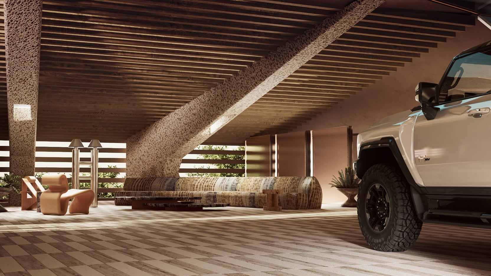 car parked in roofed garage