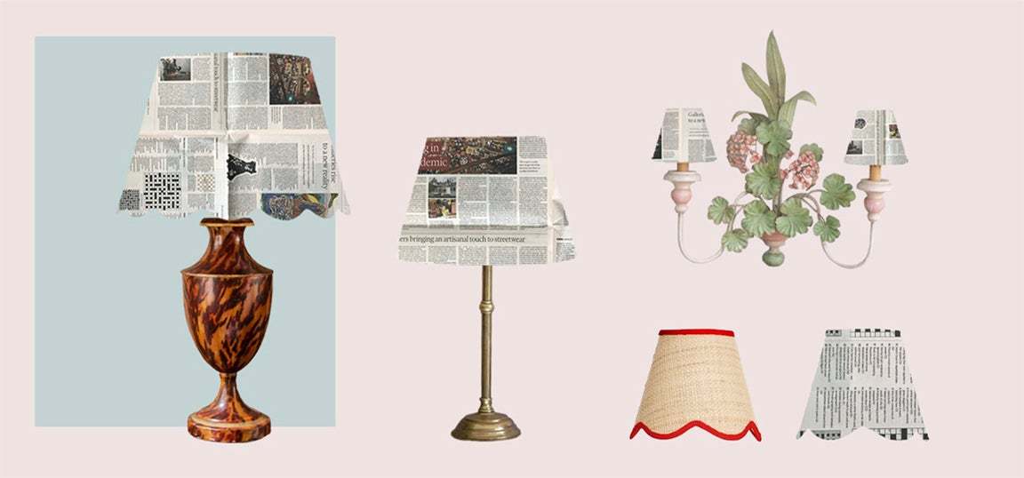 Collage of newspaper lampshades