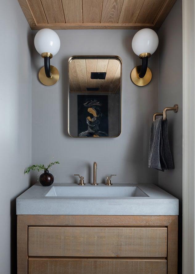 wood powder room vanity