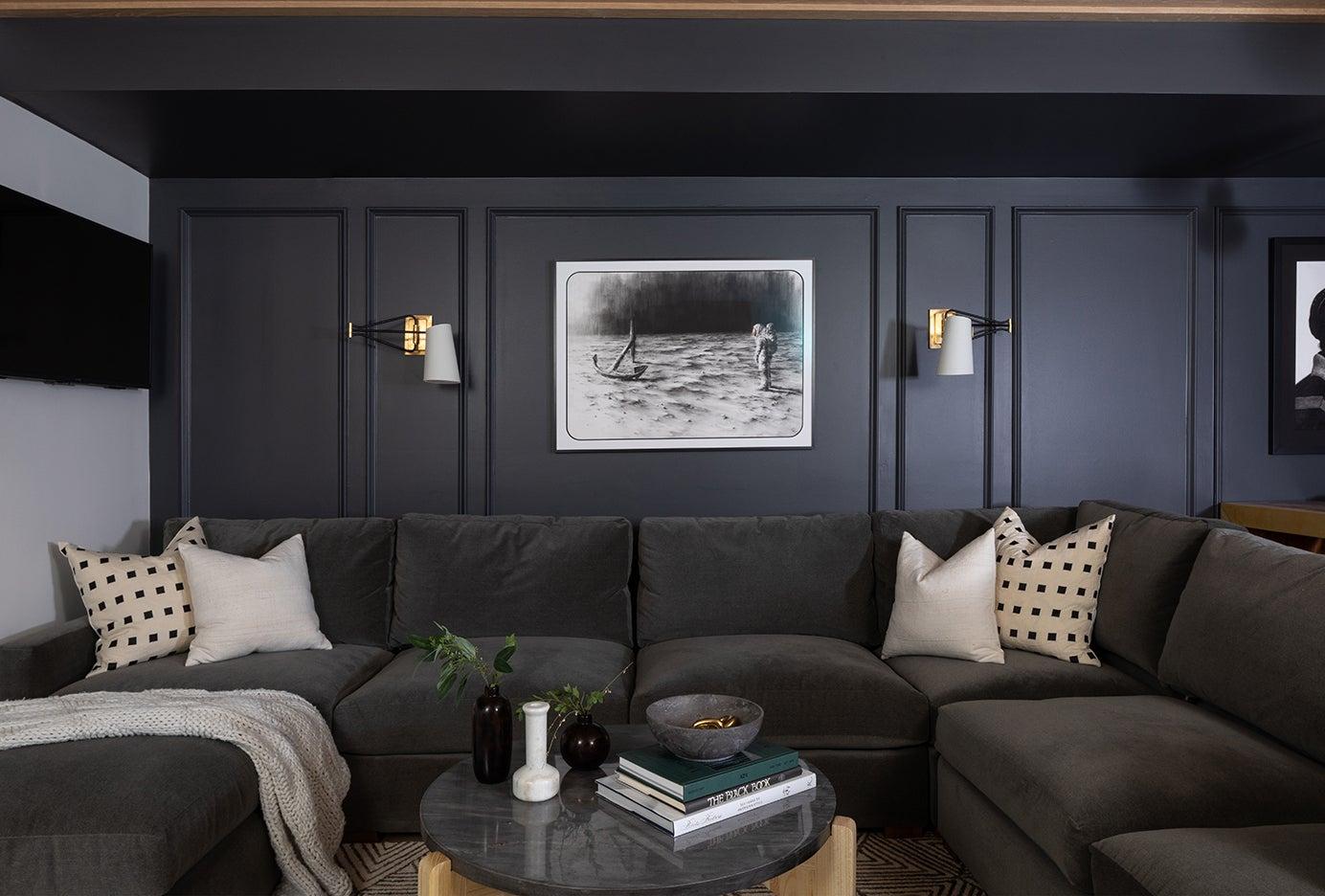 dark velvet sofa