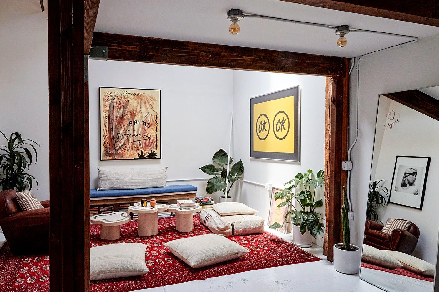 zen sitting area with floor cushions