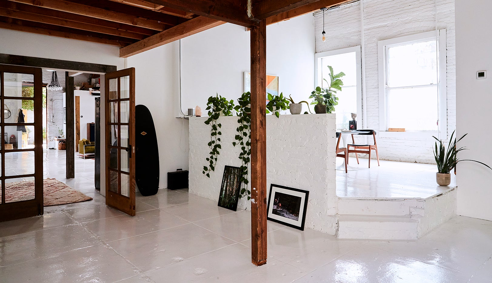 wood beam in white open space