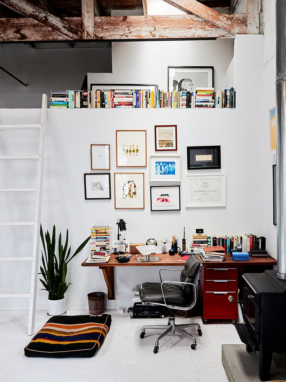 lofted book/storage space