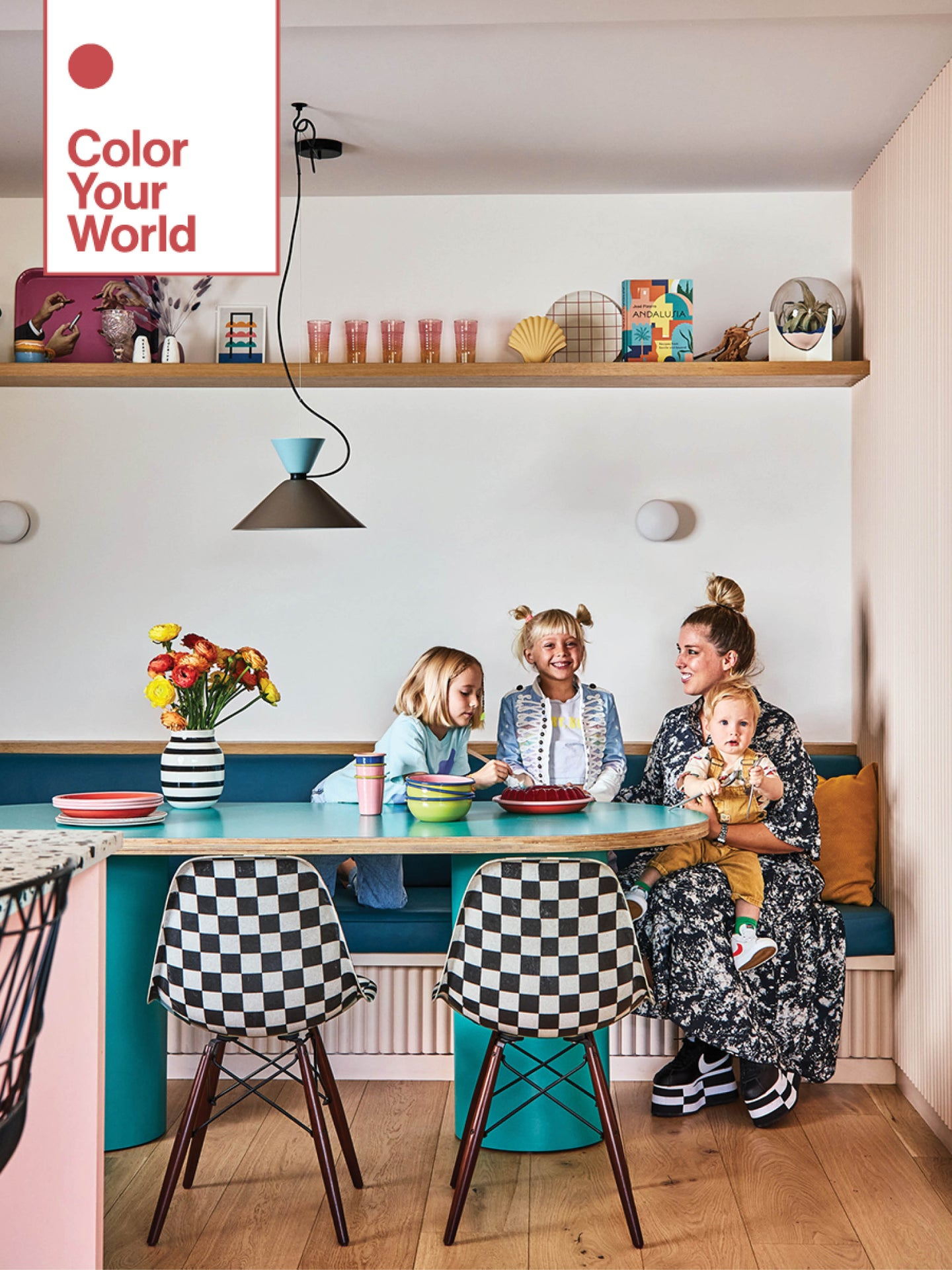 mom with kids at dining table