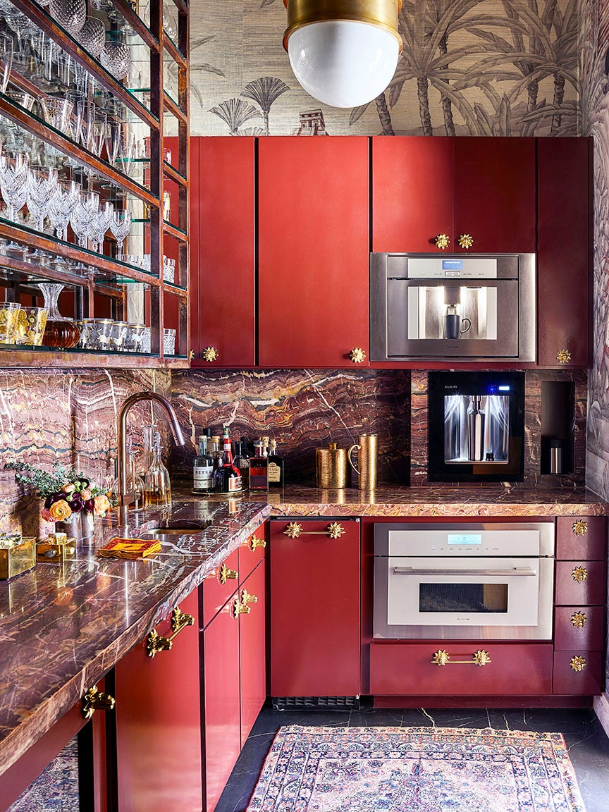 red l shaped kitchen