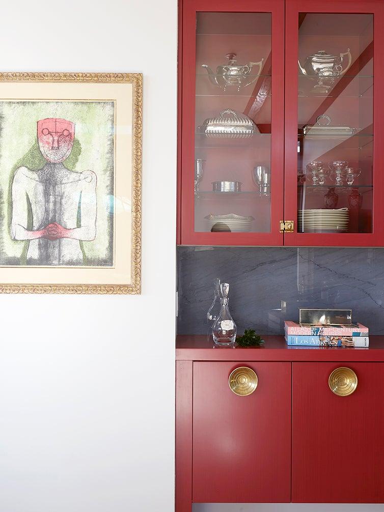 red cabinet bar nook