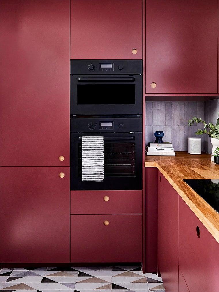 dark purple red cabinet wall