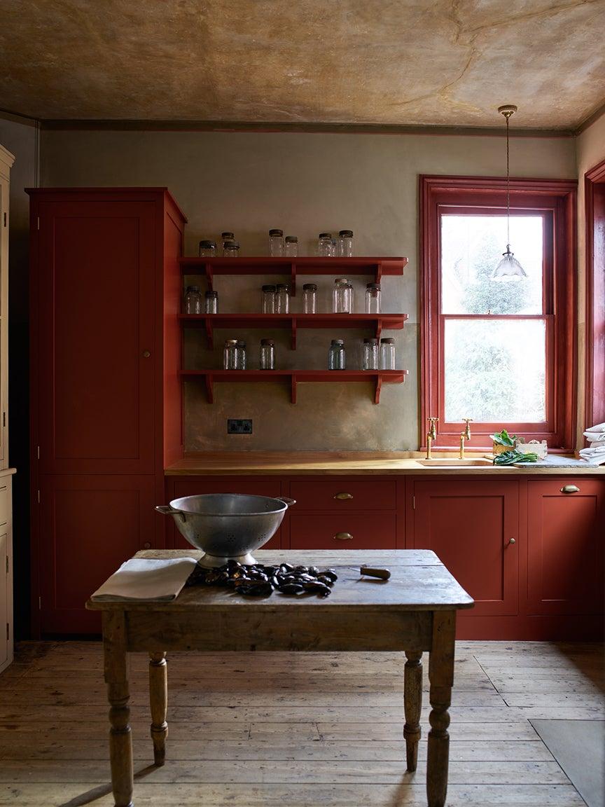 red farmhouse kitchen