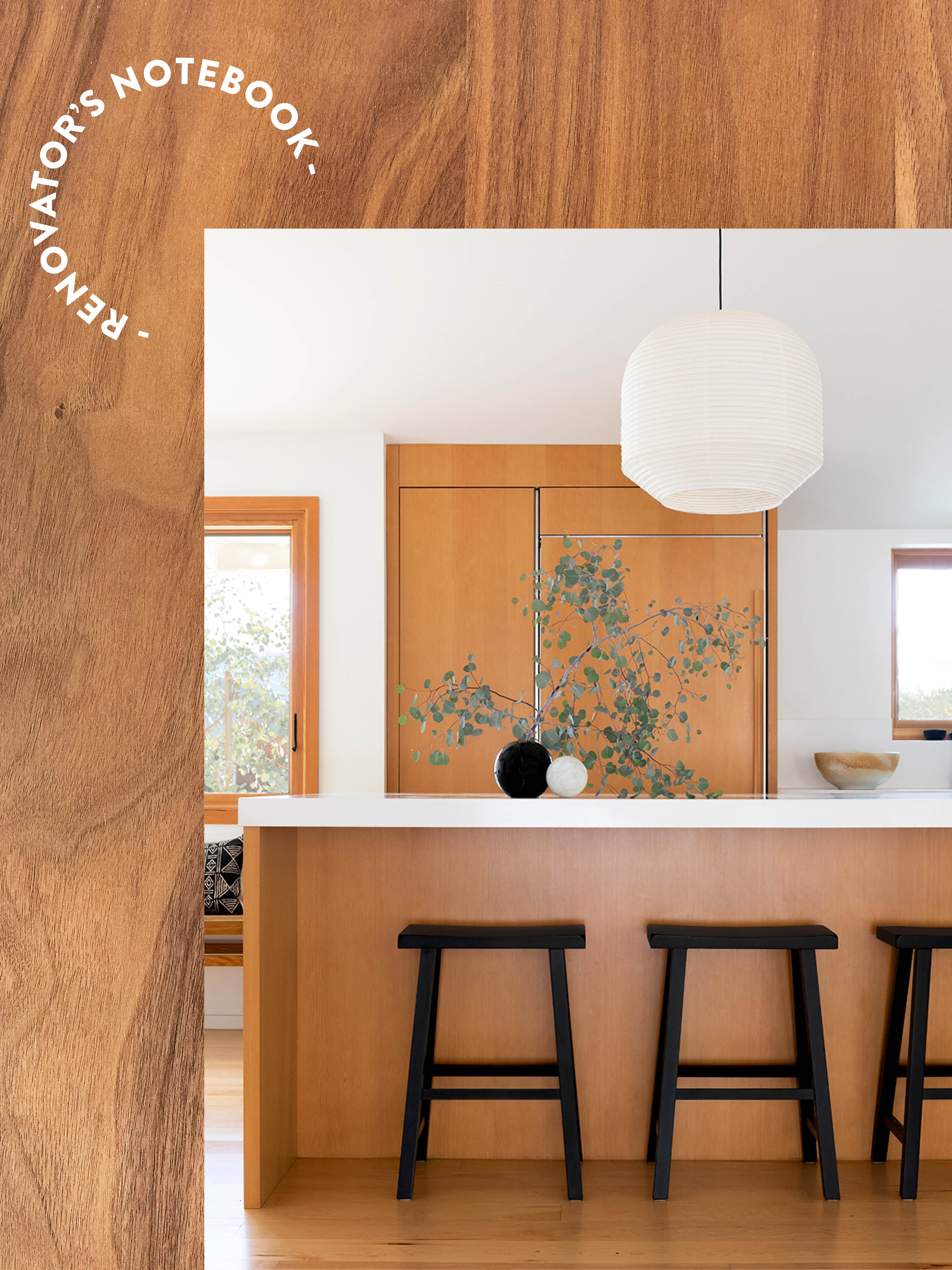 wood kitchen on wood background