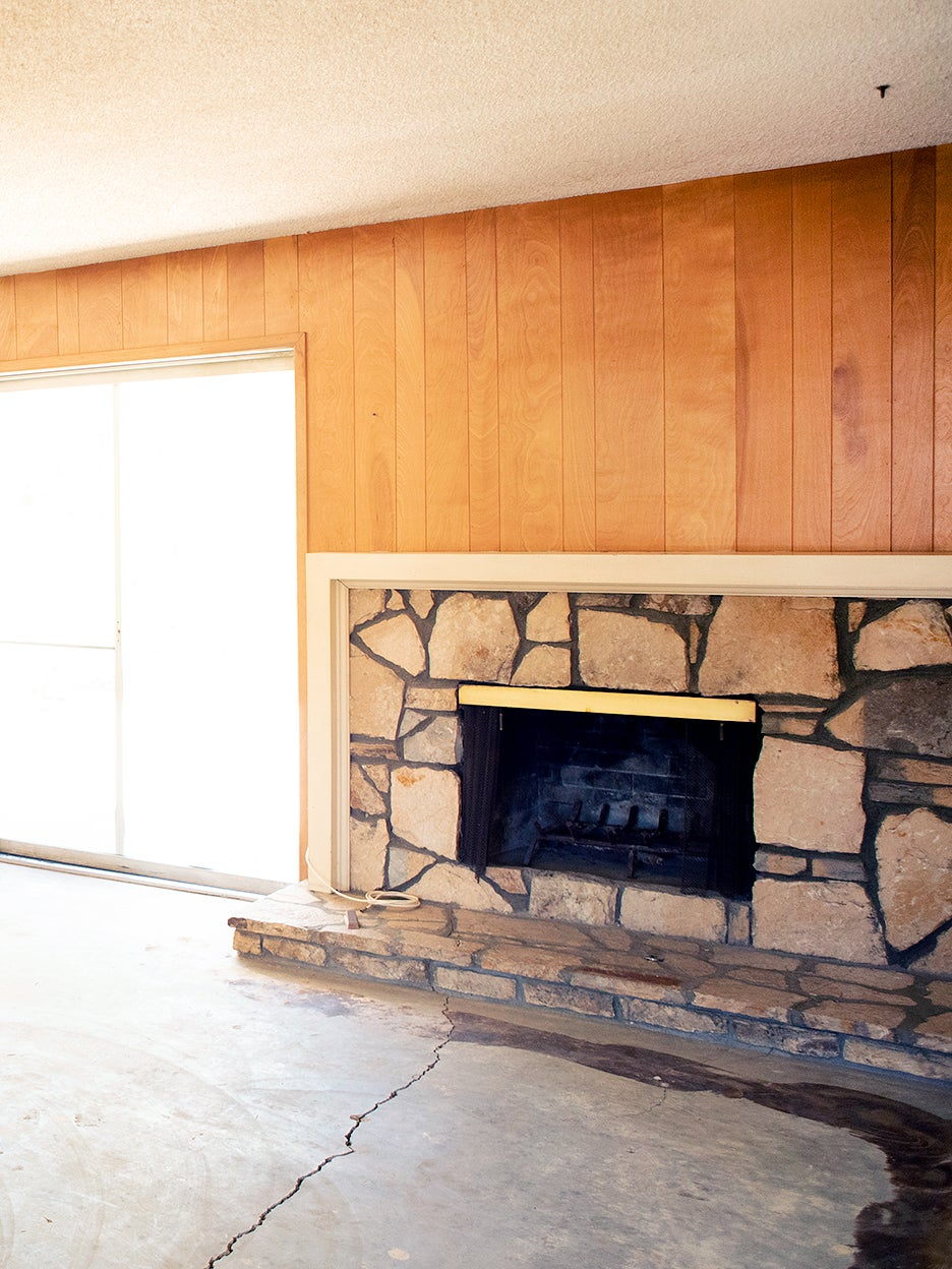 dated stone fireplace