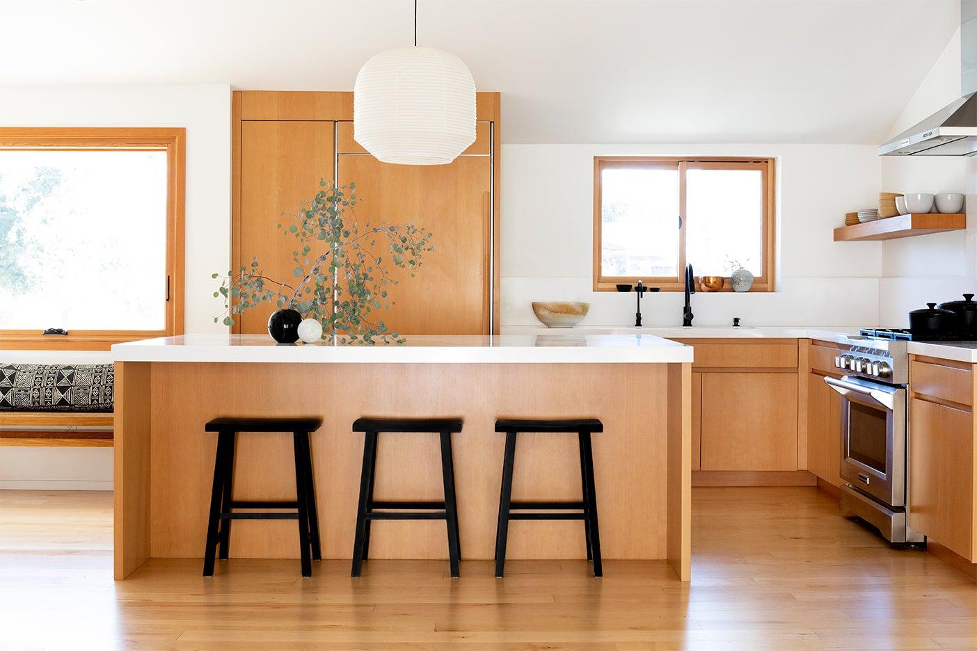 wood kitchen wiht long island