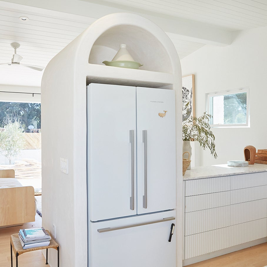 fridge inside arch hole