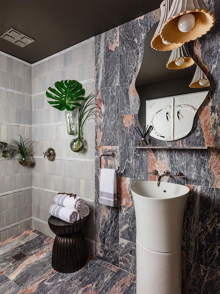 grey bathroom with white sink