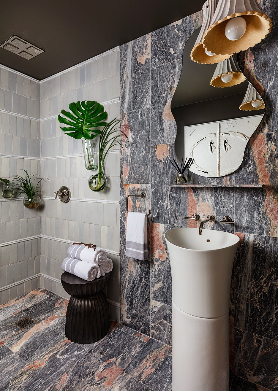 gray and red bathroom