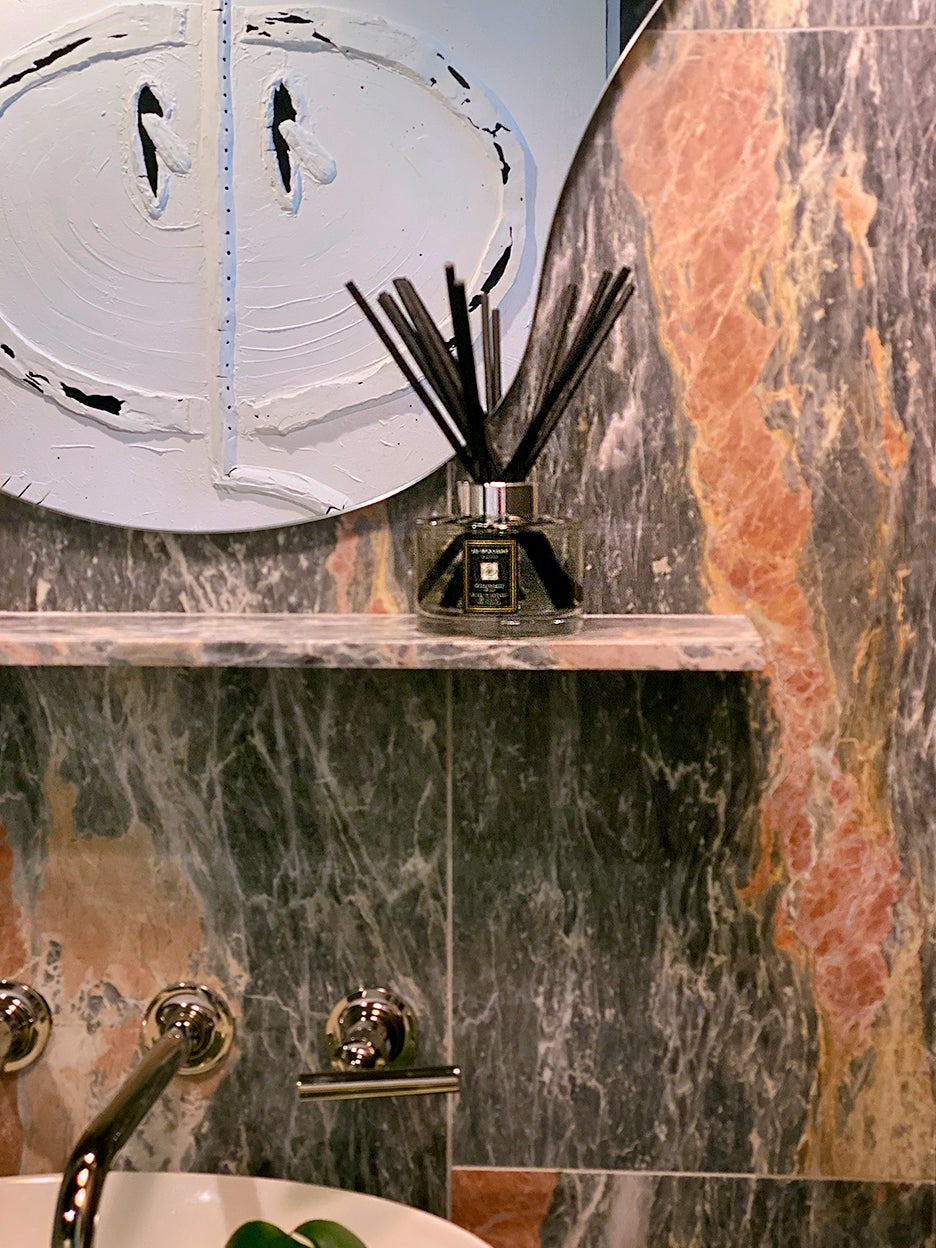 red and gray marble tiles