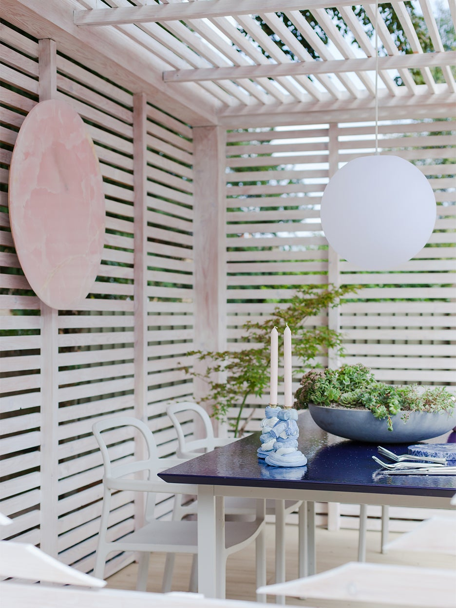 blue outdoor dining table